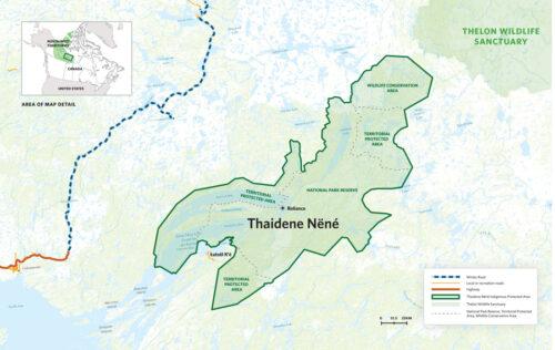 une carte du parc Thaïdene Nene, aux Territoires du Nord Ouest