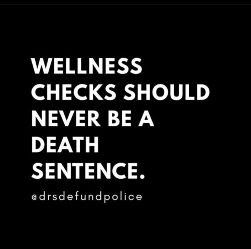 """White text in all capitals on a black background reading """"Wellness checks should never be a death sentence. @drsdefundpolice""""."""