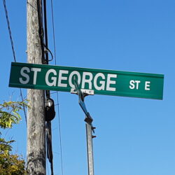 The St. George Street East sign is shown.