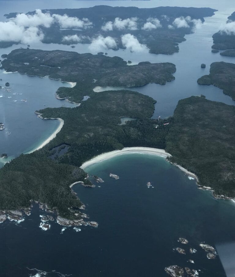 A photo of Calvert Island from an aerial perspective.