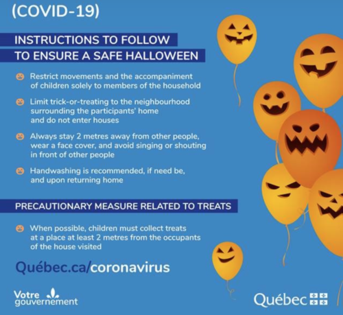 A pamphlet stating the instructions to follow to ensure a safe halloween in Quebec.