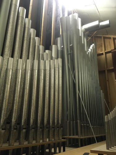 Some of the 3,000 pipes that make up the organ being installed at the former Pilgram United Church in Brooklyn, Nova Scotia