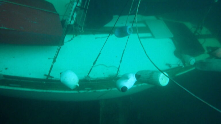 Underwater picture of sailboat