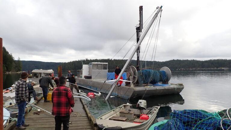 The skookum barge arrives - De Clarke photo