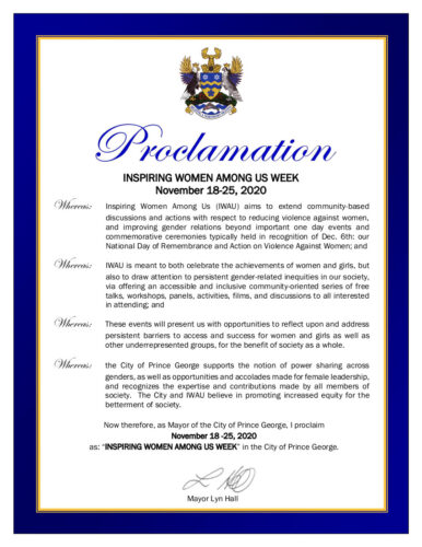 An image of the Proclamation from Mayor Lyn Hall declaring Inspiring Women Among Us Week, 2020