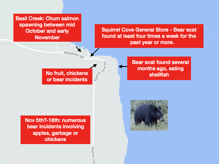 Map of Bear incidents