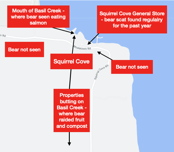 Locations associated with the Squirrel Cove Bear