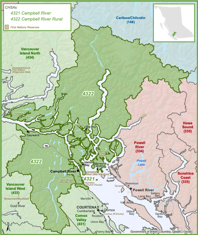 A map of the Greater Campbell River area