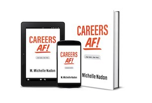 graphic of Careers AF book as a e-book, hardcover and on a phone screen