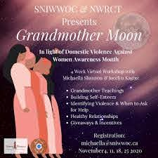 A pink and purple online poster of the Grandmother Moon workshop.