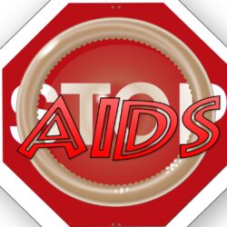 signe stop avec un condom et le signe du VIH