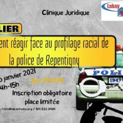 Affiche de Lajay Média. On y voit une voiture de police et des menottes.