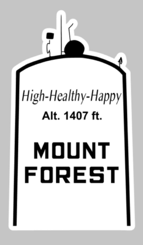 A black and white Mount Forest water tower sticker design.