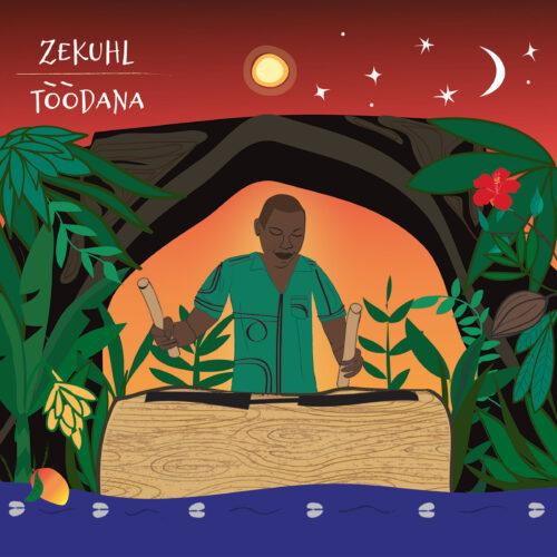 Illustration de la pochette Tòòdana utilisant le vert, le rouge et illustration du Nkuu