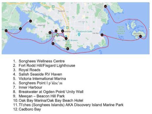 carte des lieux importants pour les Songhees
