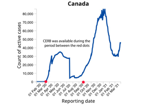 A white graph with a blue line demonstrating the numbers of active cases of COVID-19 in Canada. The lowest numbers were in July, during the period that CERB was available.