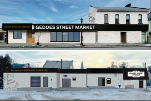 Two renderings of the white, one-floor Geddes Street Market that are stacked vertically.