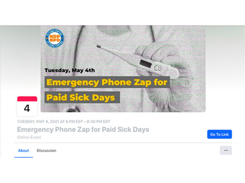 A screenshot of the Facebook event for the paid sick days phone zap. A black and white image of a doctor holding a thermometer is set as the heading for this event. Over the image is the text,