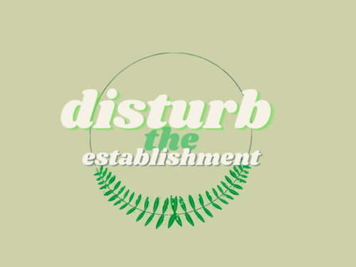 """An image of the Disturb the Establishment logo over a green background. The logo says, """"Disturb the Establishment"""" in stylized white text and has a vine curving underneath the words."""