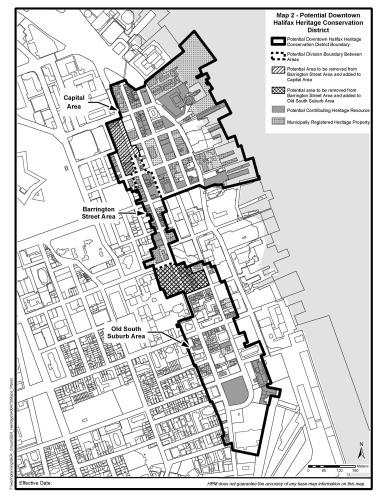 Plan du district vu de haut, longeant le front de mer à l'est de la péninsule d'Halifax.