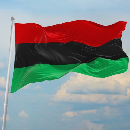 Le drapeau rouge noir et vert, symbole de l'émancipation volant au vent
