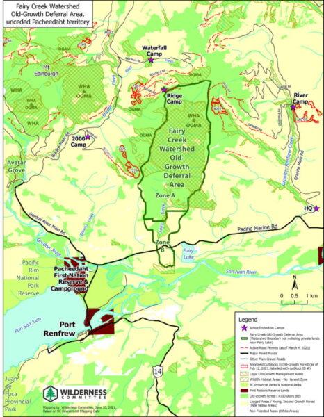 Map of the Fairy Creek logging blickades