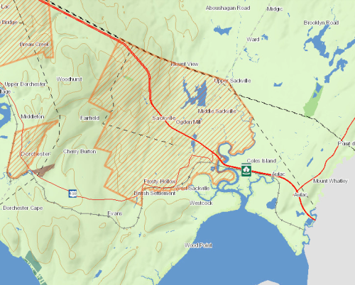 A map of the Tantramar region of southeast New Brunswick, showing municipal boundaries.