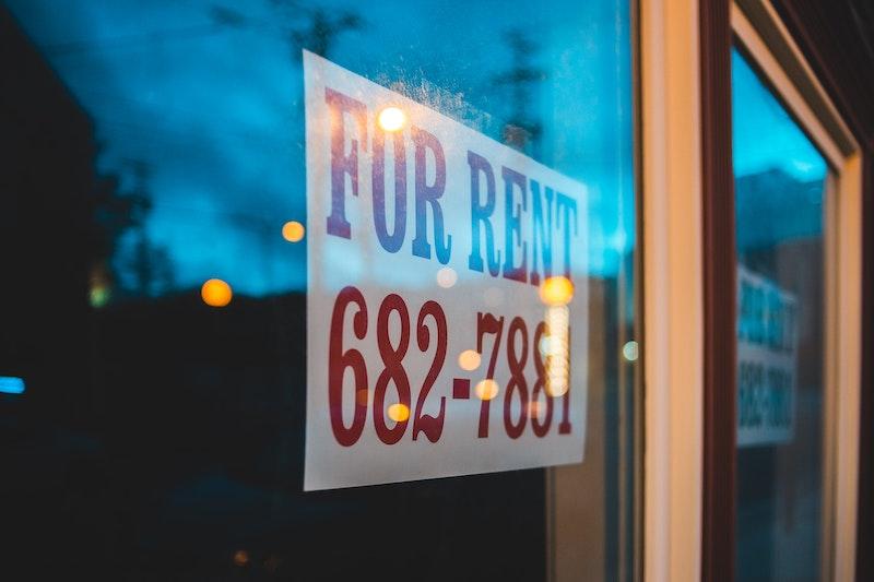 For Rent sign in the window