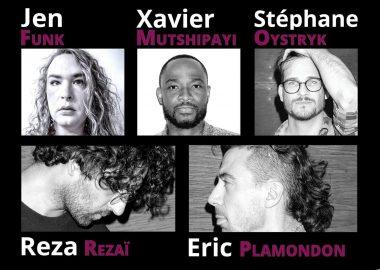 Les cinq artistes sont affichés en photos séparées.