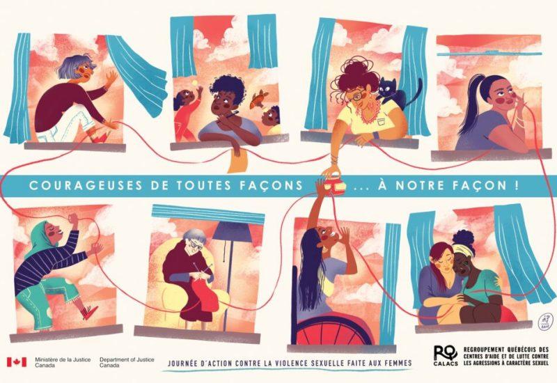 Illustration de femmes placées dans des cases en couleurs, comme dans une bande dessinée