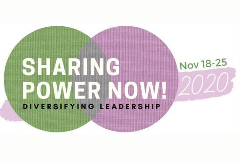 Two overlapping circles green and purple) with text over top that reads Sharing Power Now! Diversifying Leadership. Inspiring Women Among Us 2020.