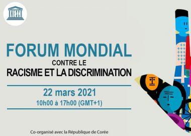 Le titre du forum en bleu avec une image d'une main composée de différentes illustrations de des visages multicolors.