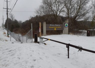 New fencing around the perimeter of the Elora Quarry in Elora, Ont., was put up to help prevent trespassing.