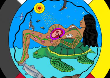 Circle with four direction colors, white on top, black on left side, yellow on right side, red on the bottom of circle, artwork of an pregnant indigenous woman laying on top of a turtle on her back