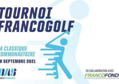 Infographie du tournoi francogolf avec un bonhomme dessin qui joue au golf.