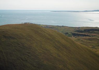 A photo taken by a drone from Big Hill on Entry Island.