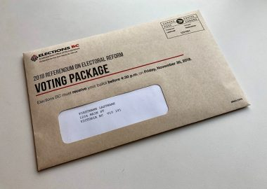 A photo of the mail-in voting package for the OCt 2020 BC provincial election.