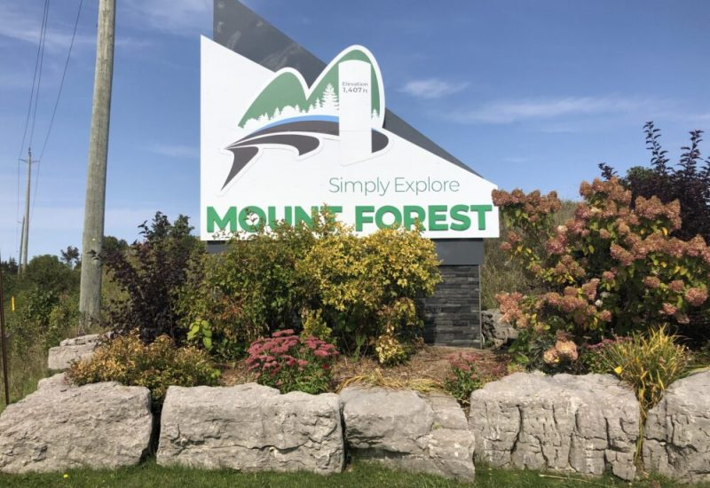 A photo of Mount Forest's new entryway sign on a sunny September day.