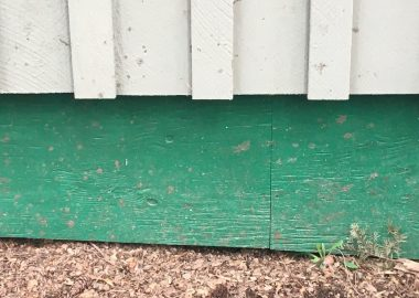 A green and white painted segment of Gorge Hall's lower wall to be fireproofed