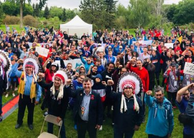 Indigenous people posing for picture from 2019 Alberta Indigenous Games