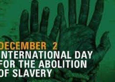 A green and black online poster for the International Day for the Abolition of Slavery observance on Dec. 2, 2020.