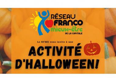 L'affiche de l'activité d'Halloween du Réseau Franco mieux-être