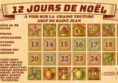 Un calendrier de décembre mettant en évidence les dates du 13 au 24; il est écrit : 12 jours de Noël au-dessus du calendrier