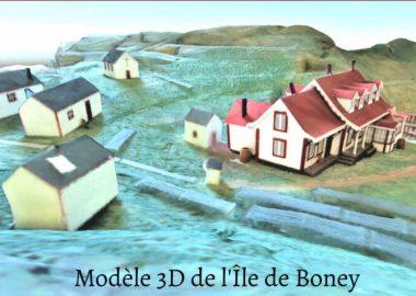 Image en 3D d'un petit village de la Basse-Côte-Nord. On aperçoit des maisonnettes, des valons et la mer.