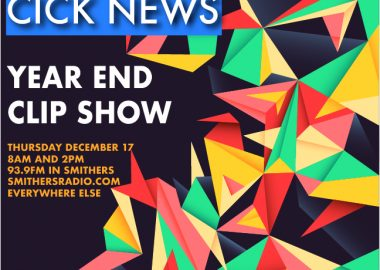 A colourful green, red, yellow and black poster for CICK News' Year End Clip Show.