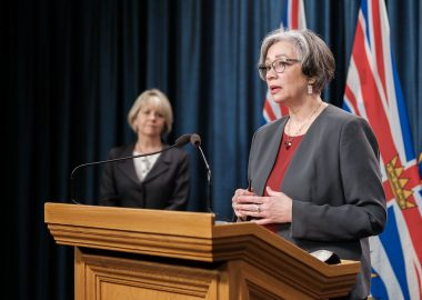 BC's Minister of Education Jennifer Whiteside announces new COVID-19 safety plans as Provincial Health Officer, Dr. Bonnie Henry watches.   Photo Government of BC/Flickr