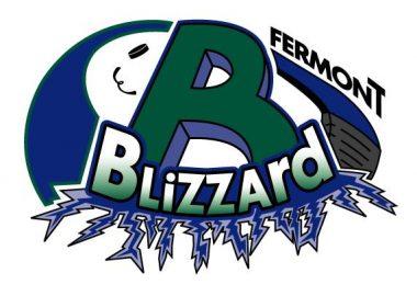 Logo du Blizzard de Fermont, un gros B vert et blizzard écrit en blanc et vert