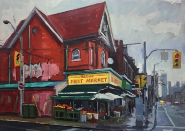 The Bloor Food Market is a 2017 painting in Brian Harvey's collection. The market is located in Toronto's west end. Photo is courtesy of Brian Harvey's website.