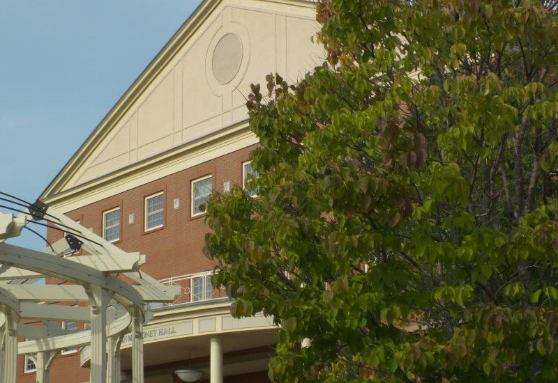 Un arbre devant un pavillon universitaire