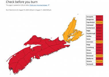 A photo of Nova Scotia's burnsafe map